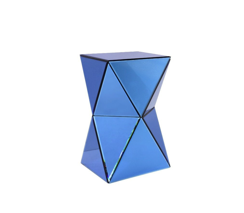 glass side table. Blue Mirrored Glass Side Table