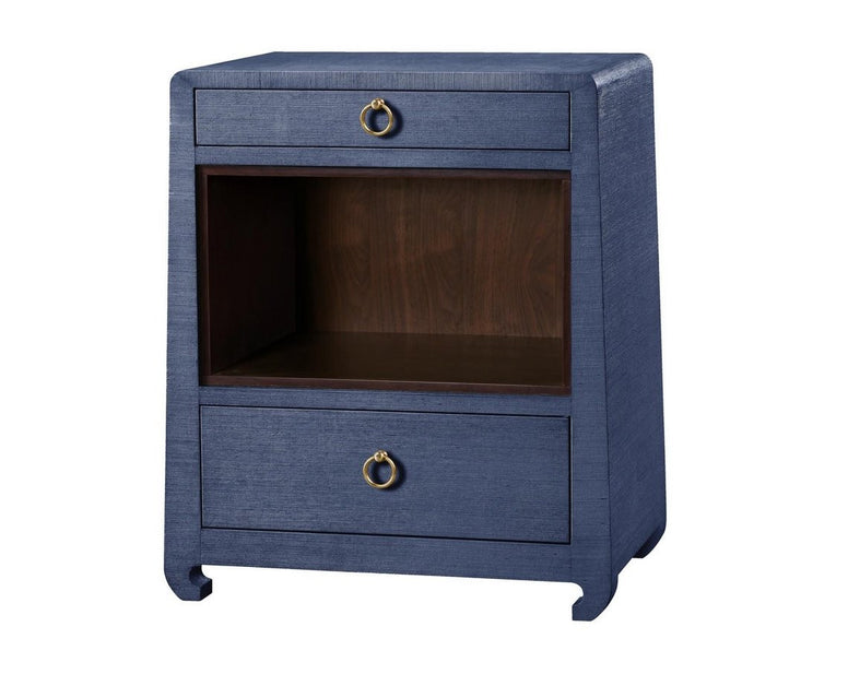 Lacquered Grasscloth Nightstand, Multiple Finishes
