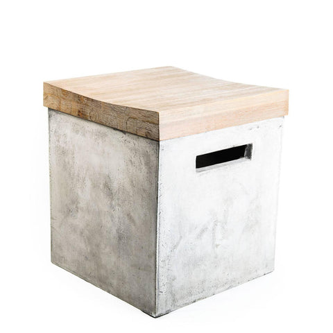 Concrete Stool with Wood Seat - Hamptons Furniture, Gifts, Modern & Traditional
