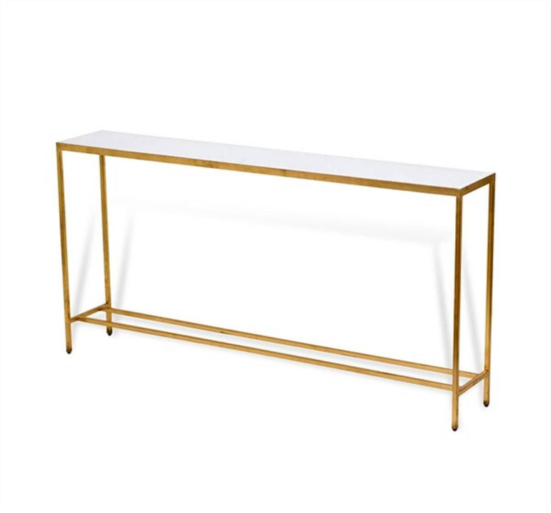 Marble Top Console with Metal Base