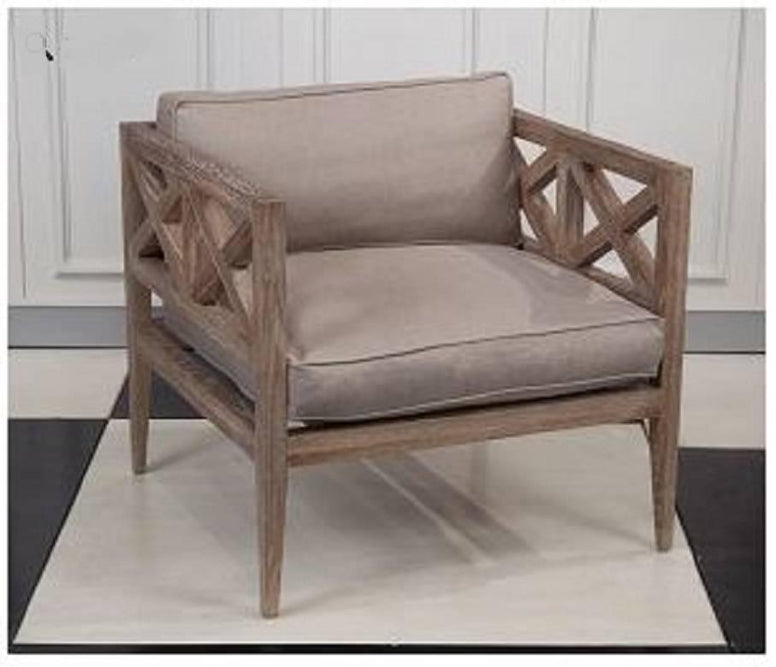Wood and Linen Lounge Chair - Hamptons Furniture, Gifts, Modern & Traditional