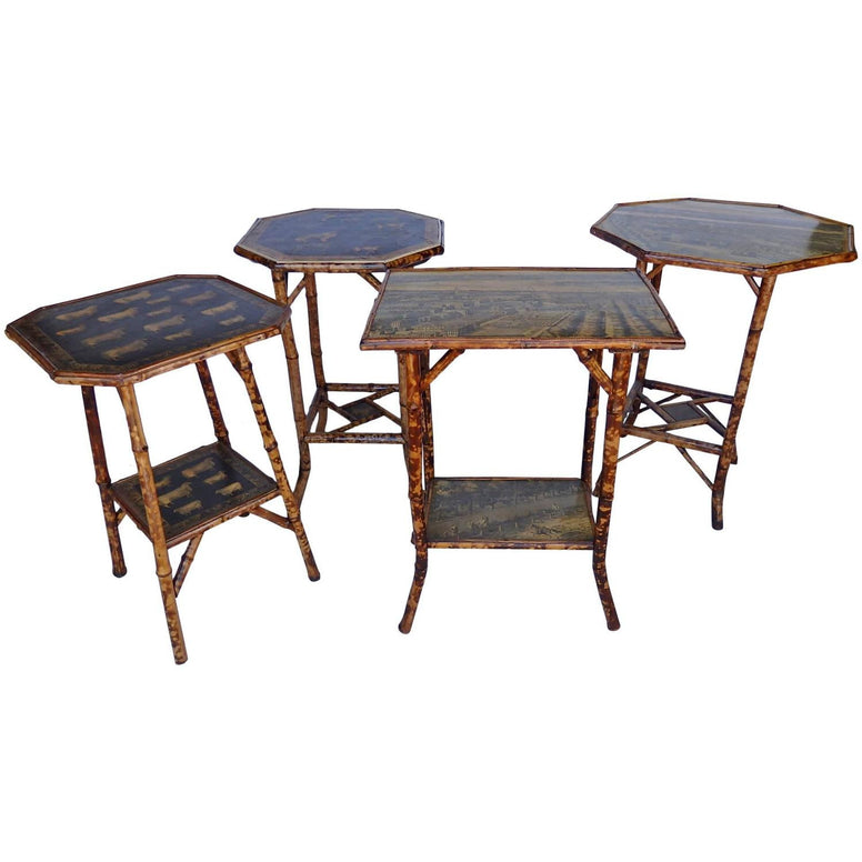 Bamboo Tables with Decoupage