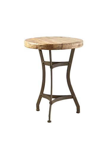 Reclaimed Wood and Iron base side table - Hamptons Furniture, Gifts, Modern & Traditional