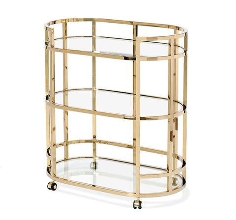 Stainless Steel & Glass Bar Cart - Hamptons Furniture, Gifts, Modern & Traditional