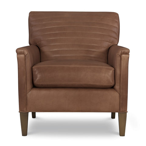 Channeled Leather Club Chair