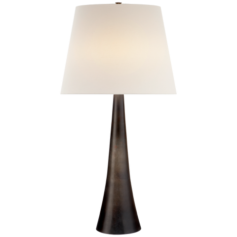 trumpet style table lamp in aged iron finish