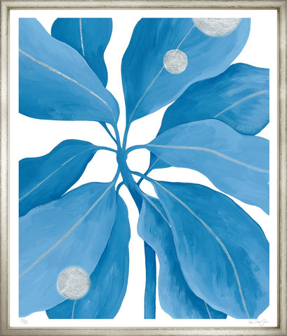 Embellished Blue Tropical Leaves in Silver Frame