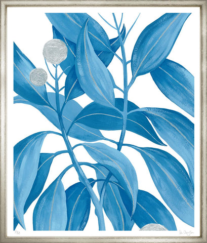 Embellished Blue Tropical Leaves in Silver Frame - Hamptons Furniture, Gifts, Modern & Traditional