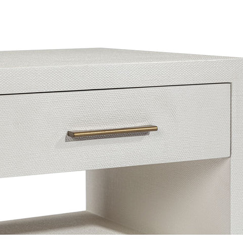 Bed Side Table with natural white faux linen and antique brass-finished hardware.
