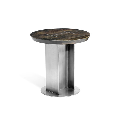Industrial Style Iron and Wood Side Table