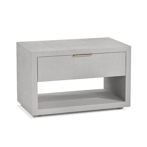 Low Modern Faux Linen Nightstand, Bedside Table