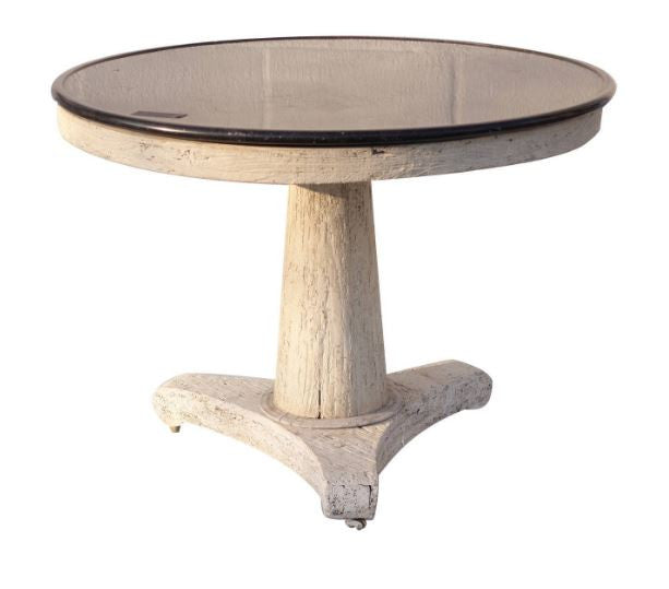 Round Oak and Marble Table
