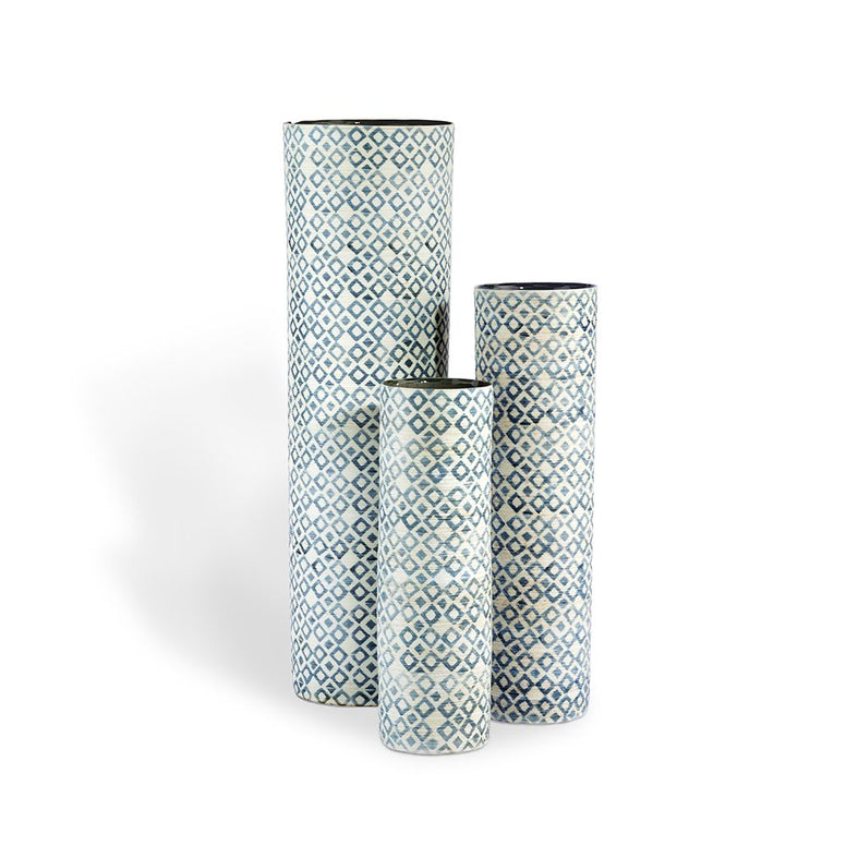 Blue and White Cylindrical Vases