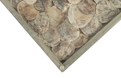Large 60 inch coffee table with Shells under Glass