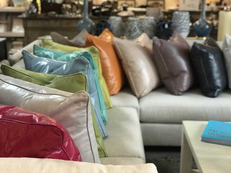 Colorful Leather Throw Pillows - Hamptons Furniture, Gifts, Modern & Traditional
