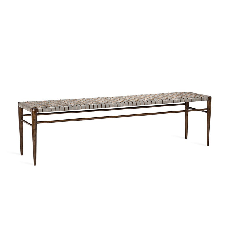 Walnut Frame Bench with Leather Woven Seat