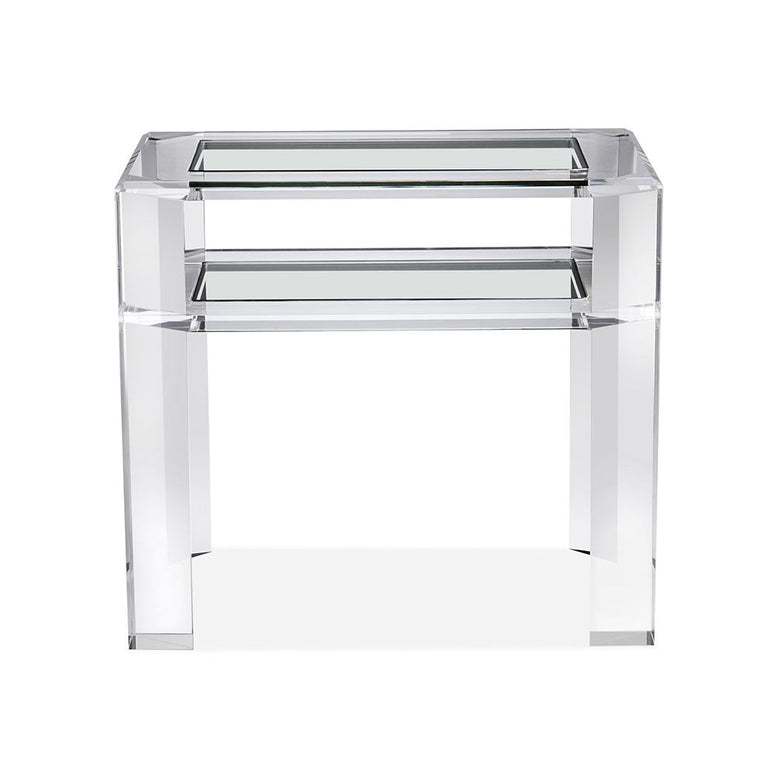 Acrylic and Glass Side Table or  Nightstand