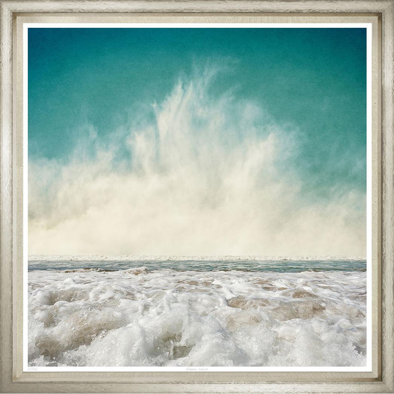 Breaking Waves and Sea Foam Image in Silver Frame - Hamptons Furniture, Gifts, Modern & Traditional