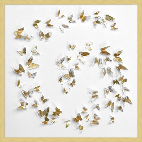 Swirling Gold Paper Butterflies Collage in white modern frame