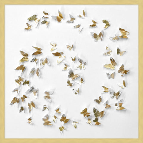 Swirling Gold Paper Butterflies Collage - Hamptons Furniture, Gifts, Modern & Traditional