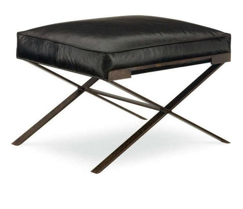 X-Base Leather Upholstered Ottoman