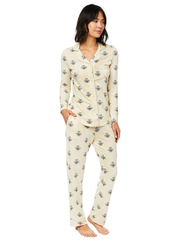 The Cat's Pajamas - Queen Bee Pima Knit Long-Sleeved Pajama