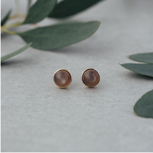 Glee Anytime gold /grey moonstone studs
