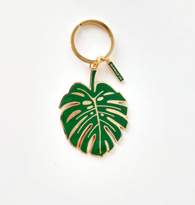 Brass and Enamel keyring Monstera