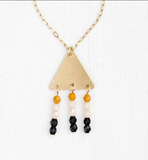 Black Bead Triangle Necklace