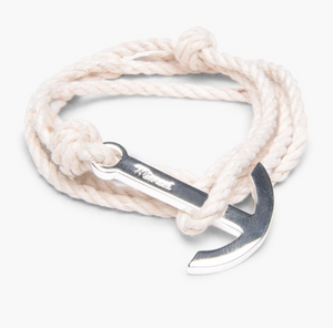 Miansai  Men's modern Silver anchor on natural  Rope
