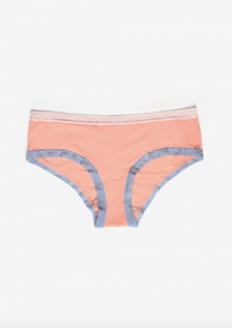 Blush Micro Lace Trim Hipster Peach