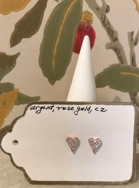 Marilyn Mayman Rose Gold Heart Studs