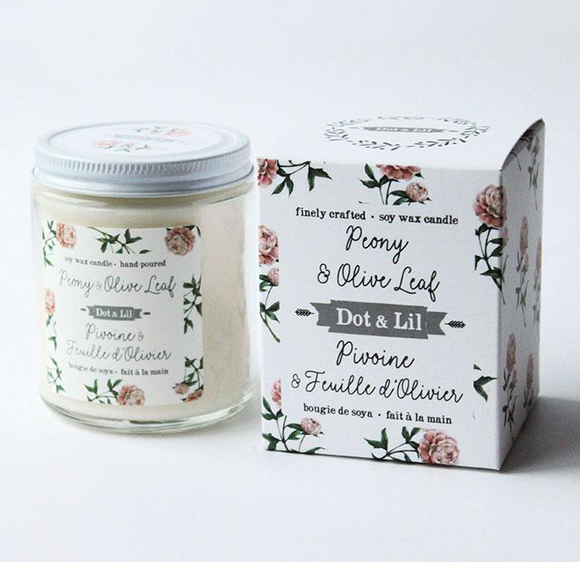 Dot & Lil Peony and Olive Leaf candle