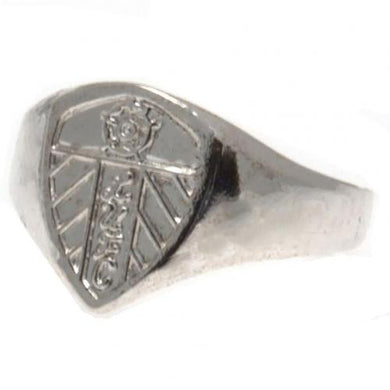 Leeds United F.C. Silver Plated Crest Ring Medium
