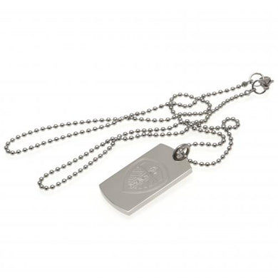 Leeds United F.C. Engraved Crest Dog Tag & Chain