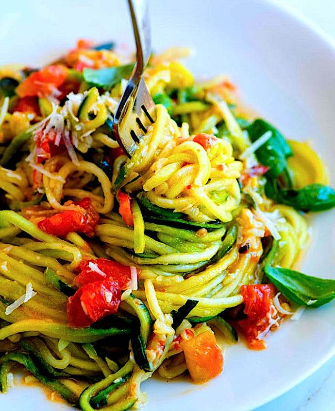 Zucchini 'Zoodles' and Whole-Wheat Spaghetti Caprese