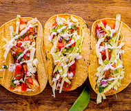 Wild Hake Fish Tacos with Pico de Gallo Salsa and Shredded Cabbage