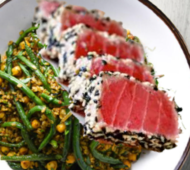 Sesame Crusted Tuna with String Beans and Brown Basmati Rice