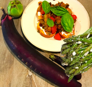 Local Eggplant Caponata and Labneh Bruschetta with Oven-Roasted Asparagus