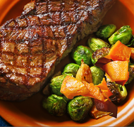 Local Grass-Fed Steak with Organic Roasted Sweet Potatoes and Brussel Sprouts