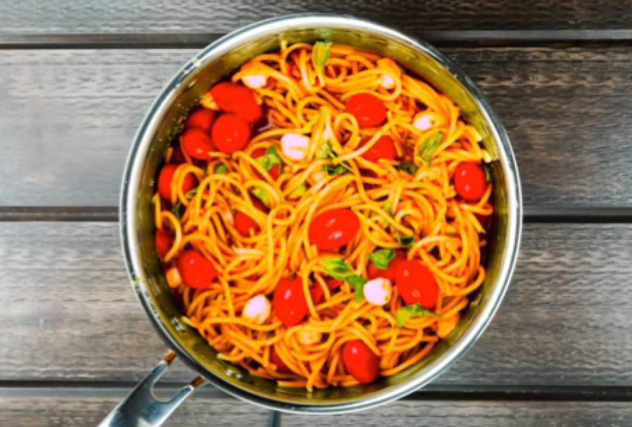 Sweet Potato 'Noodles' with Sautéed Kale and Winter Caprese Salad