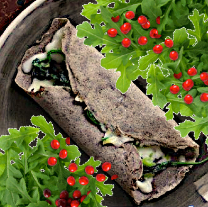 Buckwheat Vegetarian Crepes Filled with Ricotta, Spinach, and Pine Nuts, with Arugula Salad
