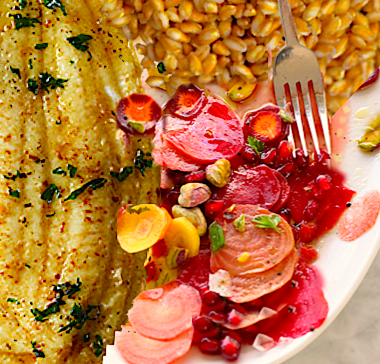 Wild Pan Seared Sole with Poached Farro and Beet and Pomegranate Salad