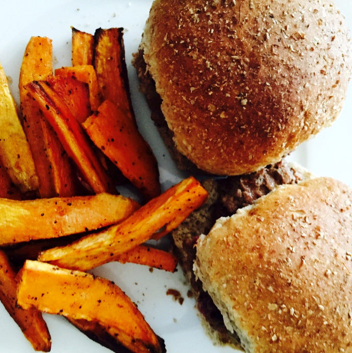 Grass-fed Hamburger Sliders with Tomato, Avocado Salad and Sweet Potato Fries