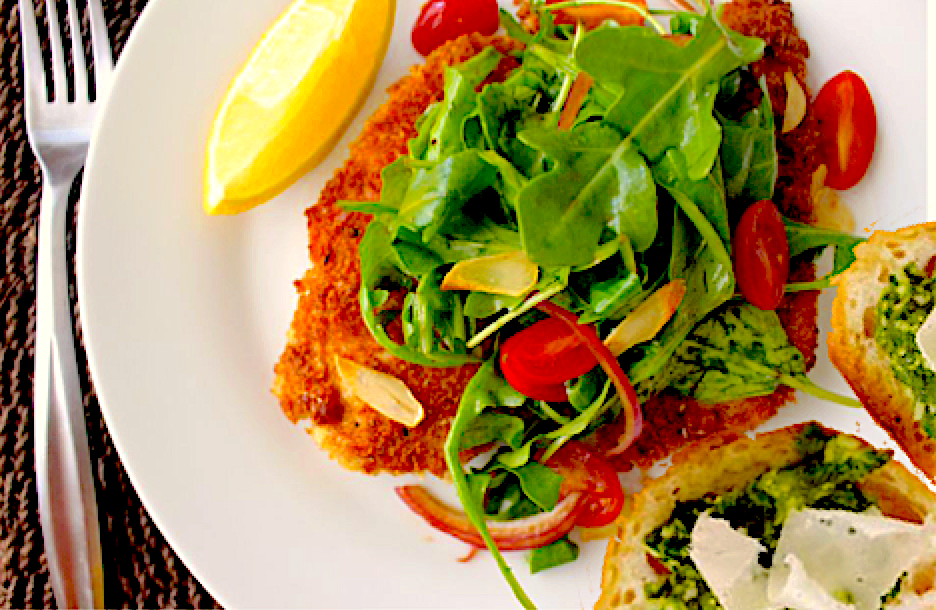Chicken Milanese Over Arugula with Kale Pesto Toast Points