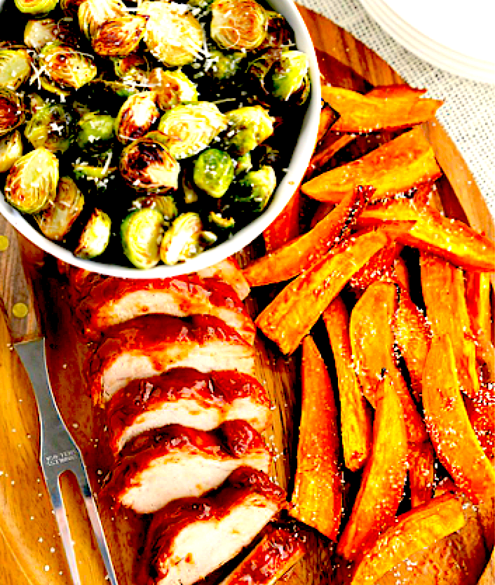 Spice Rubbed Pork Tenderloin with Roasted Brussels Sprouts and Sweet Potato Fries