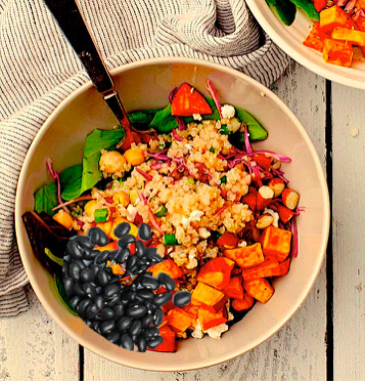 Texican Quinoa Bowl with Black Beans, Butternut Squash, Spinach, Cotija Cheese, and Fresh Salsa