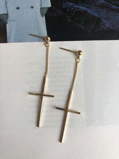 Dripping Cross' Earrings