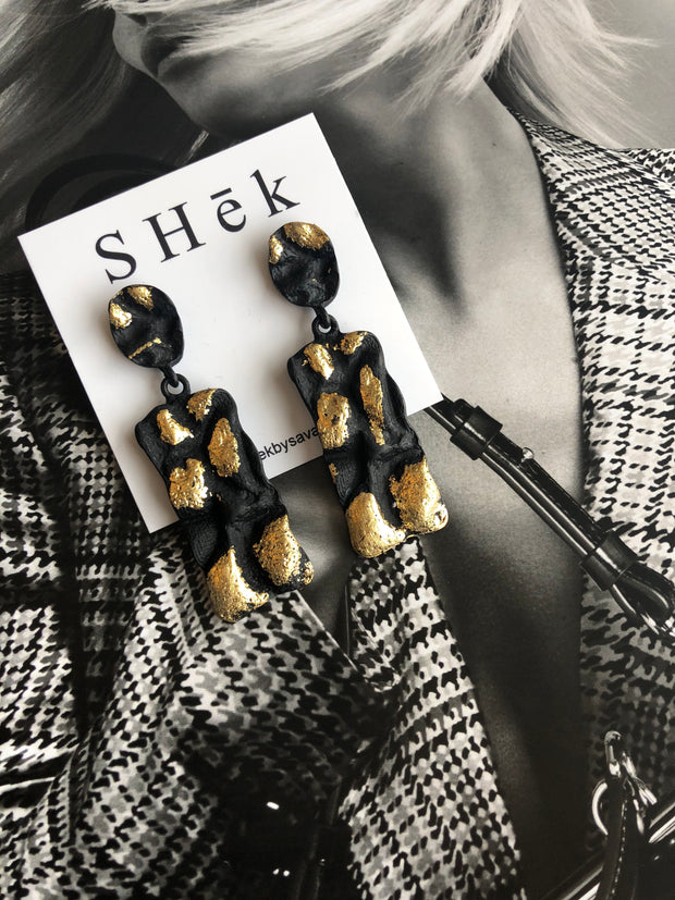 Charcoal + Gold Earrings