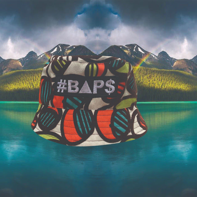 #BAP$ Bucket Hat - White with green, orange and light blue